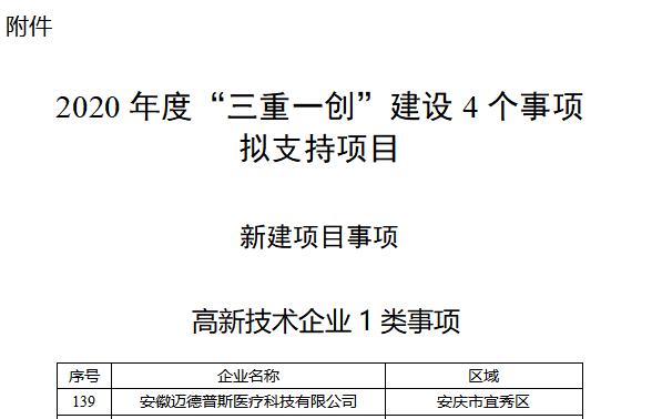 """省发展改革委公示2020年""""三重一创""""建设资金支持的企业-迈德普斯位列其中"""
